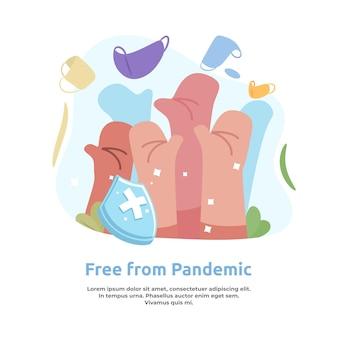 Illustrazione sull'essere liberi dalla pandemia mantenendo la salute