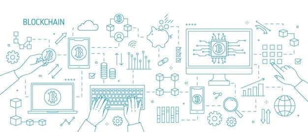 Illustrazione su blockchain, con mani, computer, laptop, altri dispositivi elettronici, simboli bitcoin