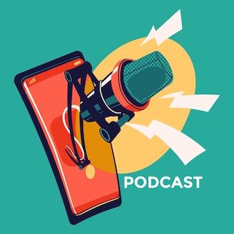 Illustrazione sul podcasting. attrezzatura per podcast
