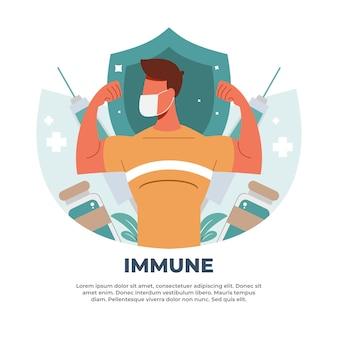 Illustrazione sul rafforzamento dell'immunità del corpo utilizzando i vaccini