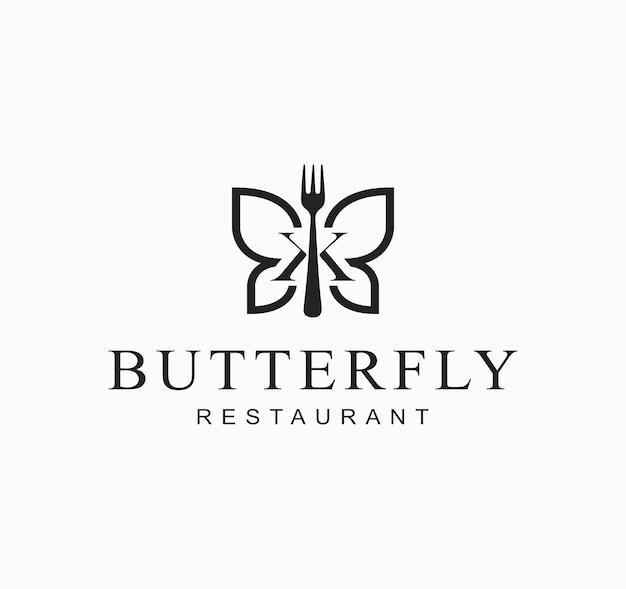 Illustrazione astratta dell'insetto della farfalla con il simbolo di progettazione del segno del ristorante della forcella