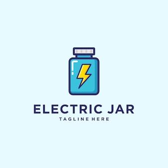 Illustrazione del barattolo astratto con la moderna tecnologia di progettazione del logo del segno del bullone elettrico