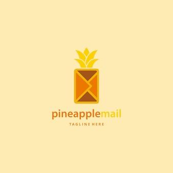 Illustrazione astratta moderna ananas frutta con busta posta segno logo design