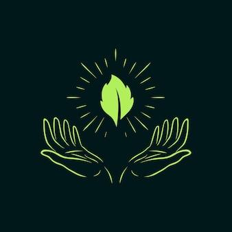 Foglia verde chiaro della natura astratta dell'illustrazione con il disegno dell'emblema del distintivo del gesto della mano di speranza di preghiera vector