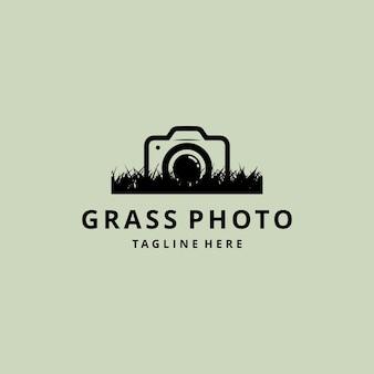 Fotografia astratta della macchina fotografica della siluetta dell'illustrazione con il vettore di progettazione di logo dell'erba della natura