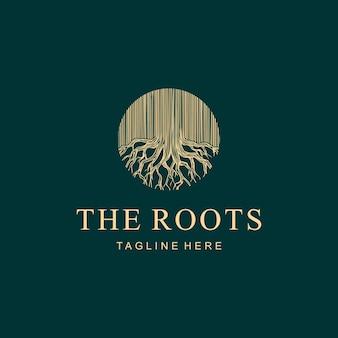 Illustrazione astratta vintage radici albero natura forma come cerchio segno logo design