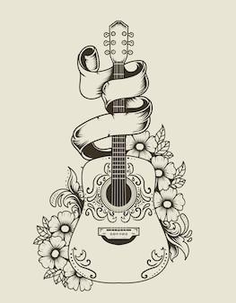Illustrazione chitarra acustica con ornamento floreale in stile monocromatico vintage