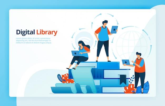 Illustrazione delle attività di apprendimento a distanza e biblioteche digitali. Vettore Premium
