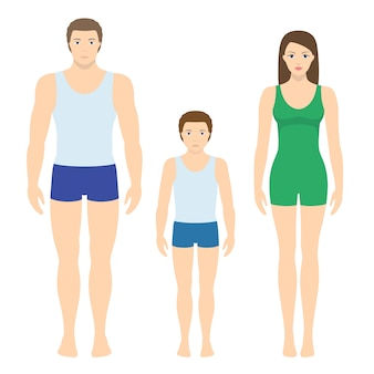Illustrazione di uomo adulto e donna e bambino