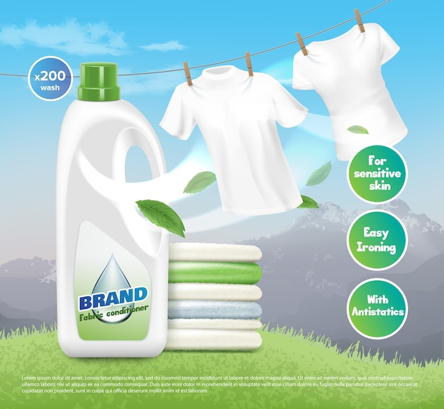Illustrazione di detersivo per lavanderia pubblicità, vestiti bianchi luminosi, asciugati e piegati. confezione del prodotto