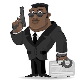 L'agente africano dell'illustrazione tiene la pistola e la valigia, formato eps 10