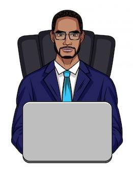 Illustrazione di un ragazzo afroamericano seduto su una sedia da ufficio davanti a un computer.