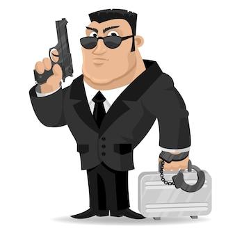 L'agente di illustrazione tiene pistola e valigia, formato eps 10