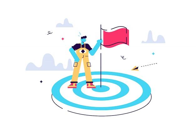 Illustrazione finalizzata a un obiettivo, aumentare la motivazione, un modo per raggiungere un obiettivo, un uomo d'affari al centro con una bandiera