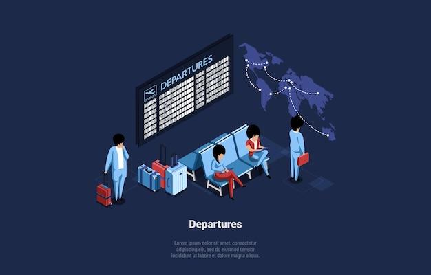 Illustrazione di aeroporto al chiuso con schermi orario e sedute. composizione con scrittura di partenza su blu scuro