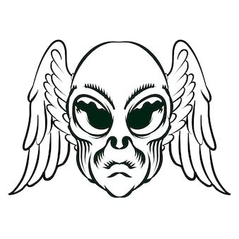 Illustrazione della testa di angelo alieno con le ali per l'elemento vettoriale di design distintivo del logo
