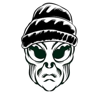 Illustrazione della testa aliena con berretto per elemento vettoriale di design distintivo logo