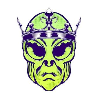 Illustrazione della testa aliena con corona per elemento vettoriale di design distintivo logo
