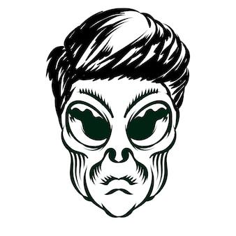 Illustrazione della testa aliena con i capelli per l'elemento vettoriale di design distintivo del logo