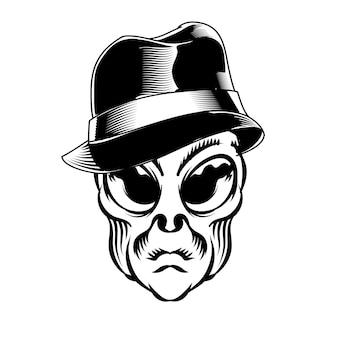 Illustrazione della testa aliena con cappello per elemento vettoriale di design distintivo logo