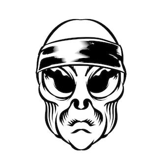 Illustrazione della testa aliena con fascia per la testa per l'elemento vettoriale del design del badge logo