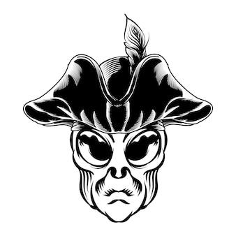 Illustrazione della testa aliena con cappello da pirata per elemento vettoriale di design badge logo