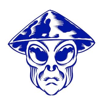 Illustrazione della testa aliena con il contadino del cappello del prisma per l'elemento vettoriale del design del distintivo del logo