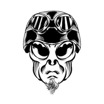 Illustrazione della testa aliena con casco retrò per elemento vettoriale di design distintivo logo