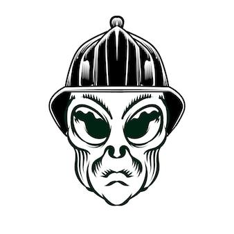 Illustrazione della testa aliena con casco di sicurezza per elemento vettoriale di design distintivo logo