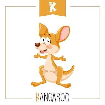 Illustrazione di alfabeto lettera k e canguro