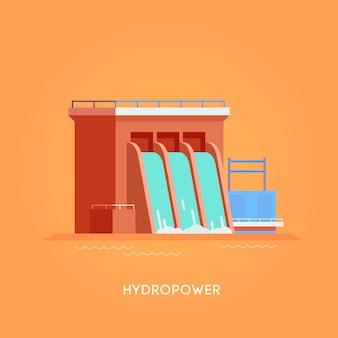 Illustrazione. fonti di energia alternative. energia verde. l'energia idroelettrica