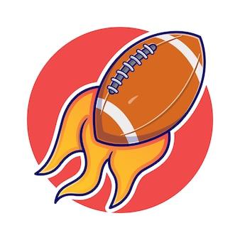 Illustrazione della palla americana con palla da rugby in fiamme. sport . stile cartone animato piatto
