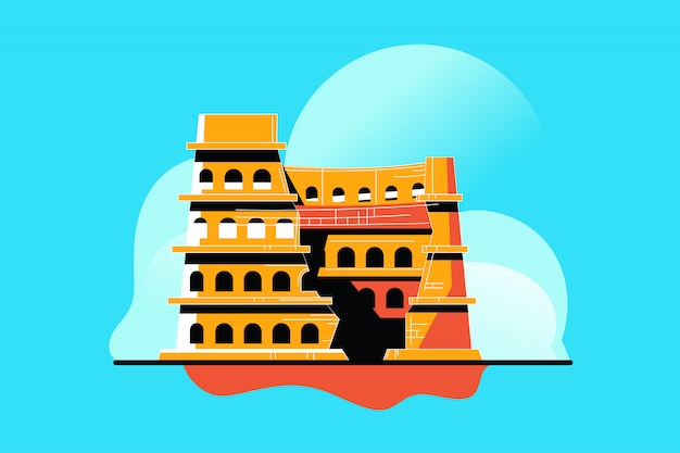 Illustrazione dell'anfiteatro colosseo a roma