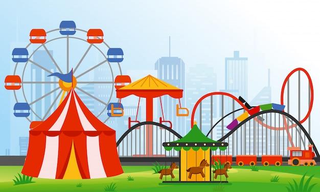 Illustrazione elementi del parco divertimenti sullo sfondo della città moderna. famiglia riposo nel parco di giostre con ruota panoramica colorata, giostra, circo in stile piatto.