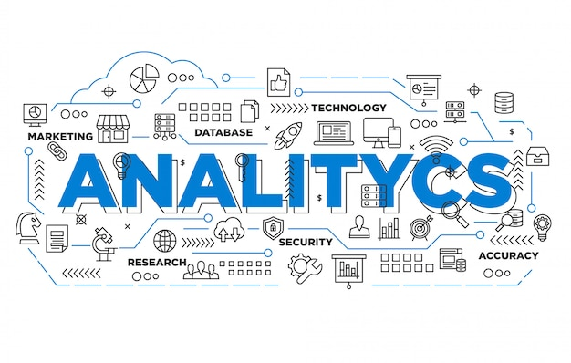 Illustrazione del design banner analitico con stile iconico