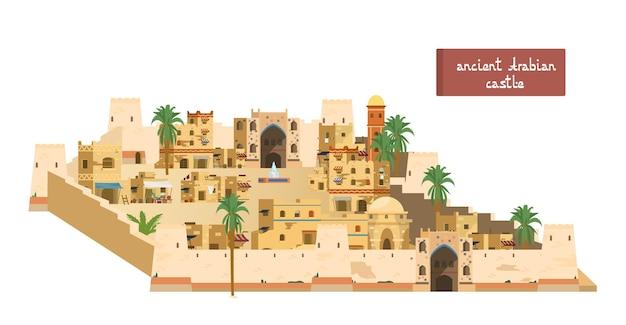 Illustrazione di antico castello arabico con torri, cancelli, case di mattoni di fango, mercato, fontana, palme. isolato su bianco.