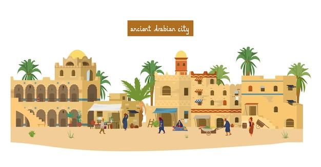 Illustrazione di antica città araba con persone, case di mattoni di fango, mercato, palme.
