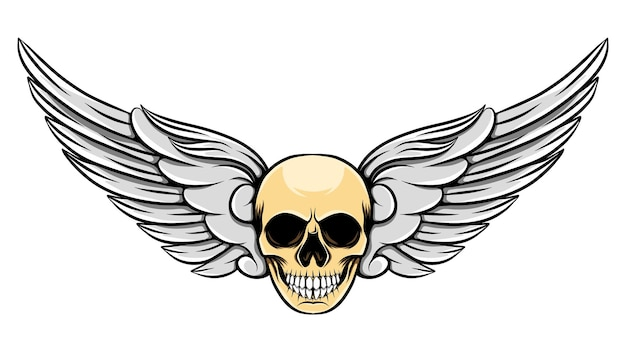 Illustrazione delle ali ad angolo con teschio umano morto