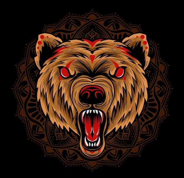 Illustrazione testa di orso arrabbiato con ornamento mandala