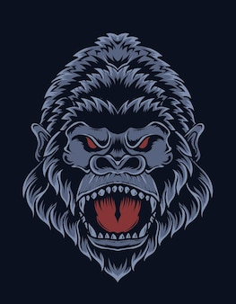 Illustrazione testa di gorilla arrabbiato