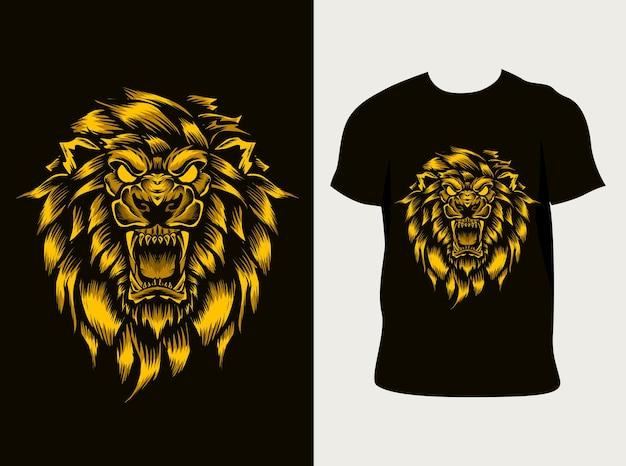 Testa di leone arrabbiato illustrazione con design t-shirt