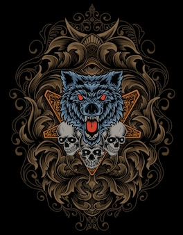 Illustrazione lupo arrabbiato e testa di teschio con ornamento antico