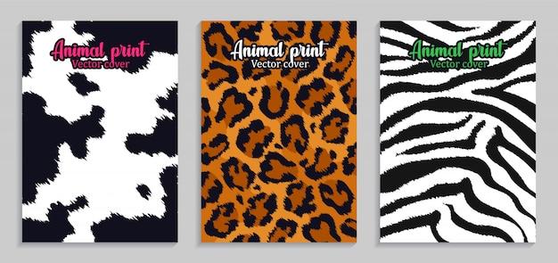 Stampe animalier illustrazione. pelle e pelliccia. mucca, leopardo, zebra
