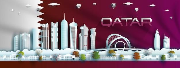 Illustrazione celebrazione dell'anniversario felice giorno dell'indipendenza del qatar sullo sfondo bandiera del qatar Vettore Premium