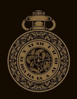 Illustrazione antico orologio con incisione ornamento syle