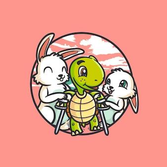 Tartaruga di ansia di illustrazione aiutata dalla lepre