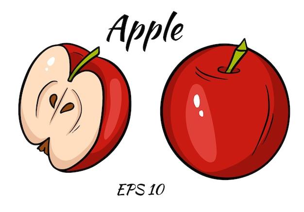 Illustrazione di una mela. mela a fette isolata su uno sfondo bianco. stile cartone animato.