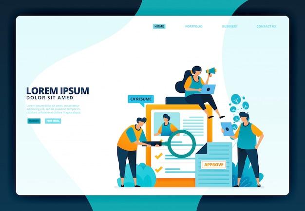 Illustrazione di candidarsi per un lavoro. per sito web di landing page
