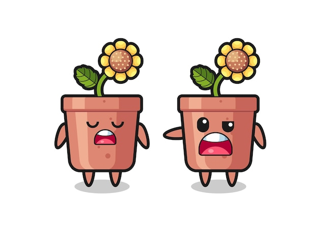 Illustrazione della discussione tra due simpatici personaggi di vaso di girasole, design in stile carino per maglietta, adesivo, elemento logo
