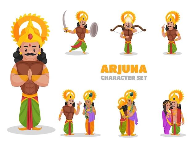 Illustrazione del set di caratteri arjuna
